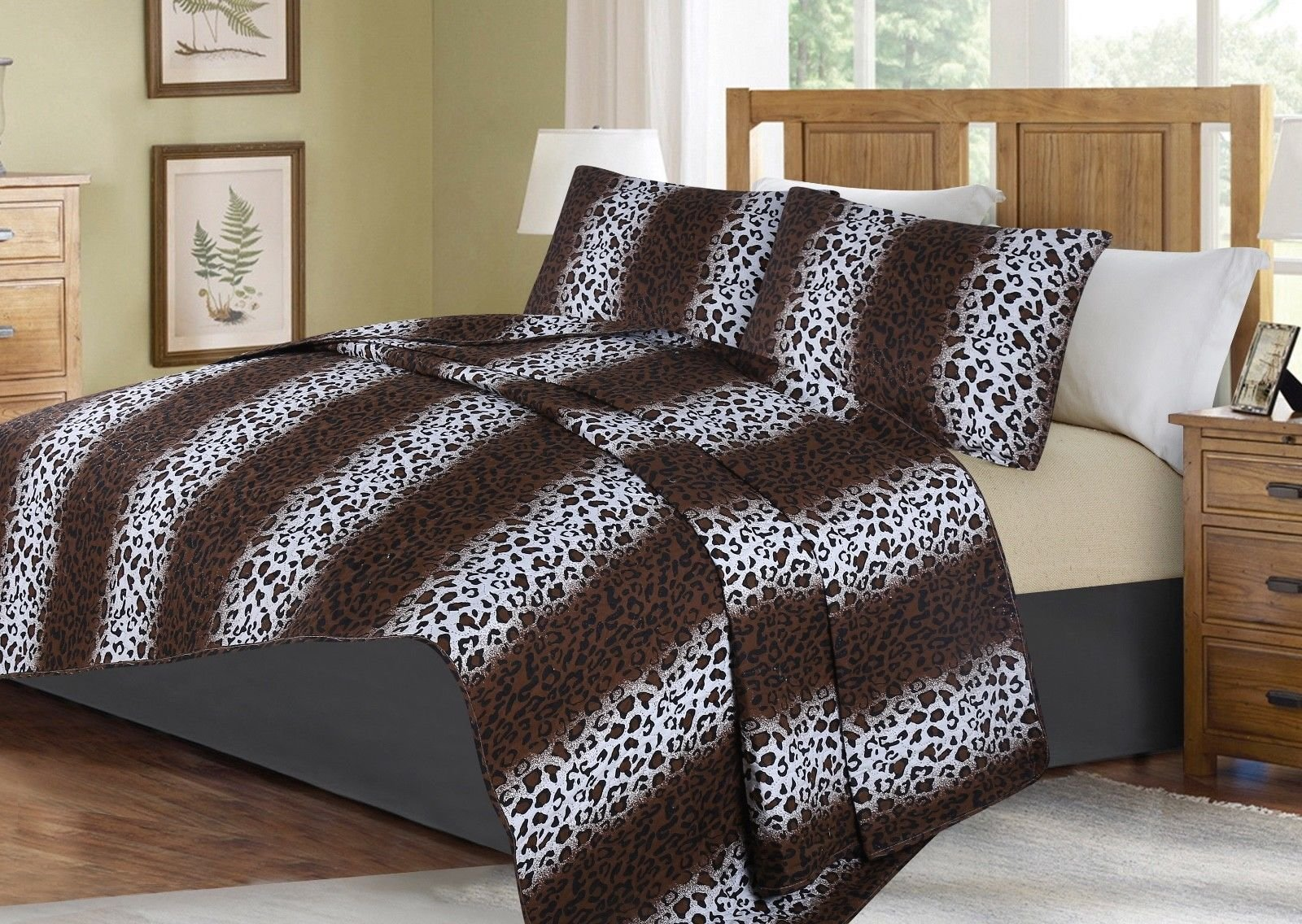 no!no! Printed Animal Designs Bedspread Coverlet Quilt Set with Pillow Shams Animal 2# Size King