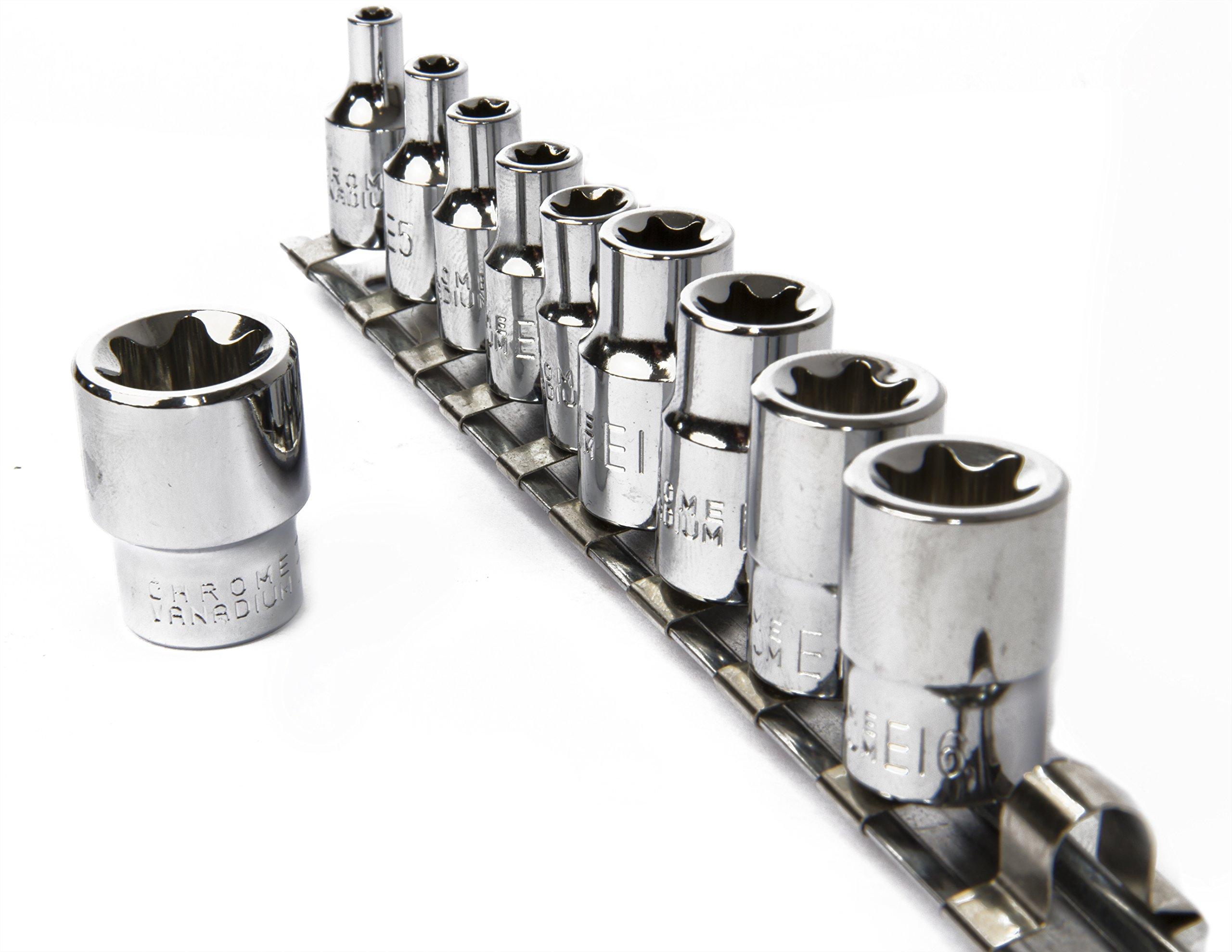 eHomeA2Z 10 Pc E-Torx Female Star Socket Set CR-V Steel