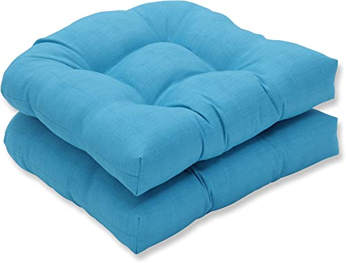 Pillow Perfect Outdoor Indoor Veranda Turquoise Tufted Seat Cushions Round Back , 19 x 19 , Blue, 2 Pack