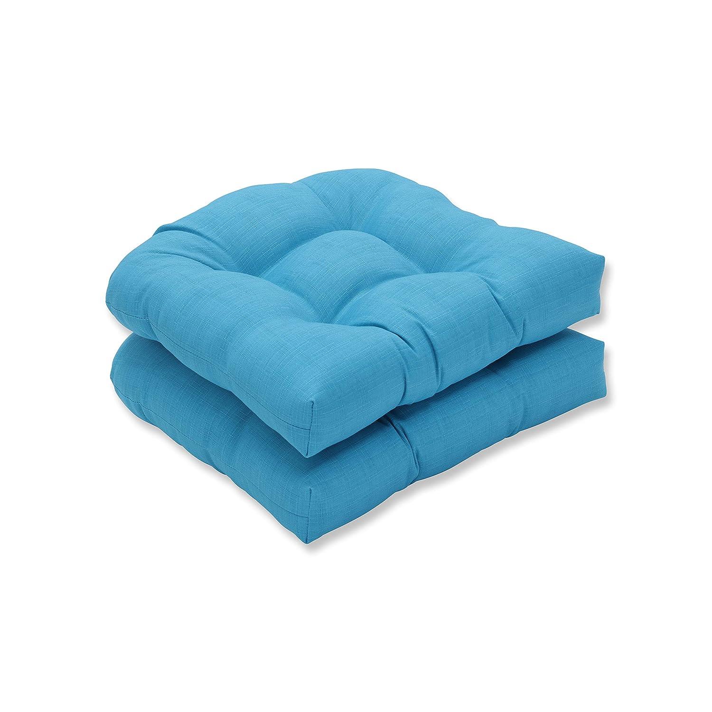 Pillow Perfect Outdoor Veranda Turquoise Wicker Seat Cushion, Set of 2