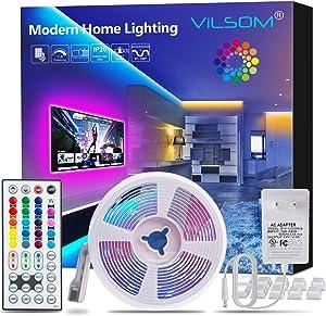 ViLSOM LED Strip Lights 16.4ft with 44 Keys Remote and 12V Power Supply Dimmable Led Lights for Bedroom, Room, TV, Ceiling, Color Changing RGB 5050 LEDs Strip Bias Lighting