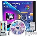 ViLSOM LED Strip Lights 16.4ft with 44 Keys Remote and 12V Power Supply Dimmable Led Lights for Bedroom, Room, TV…