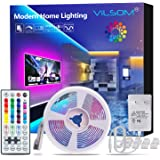ViLSOM LED Strip Lights 16.4ft with 44 Keys Remote and 12V Power Supply Dimmable Led Lights for Bedroom, Room, TV, Ceiling, C