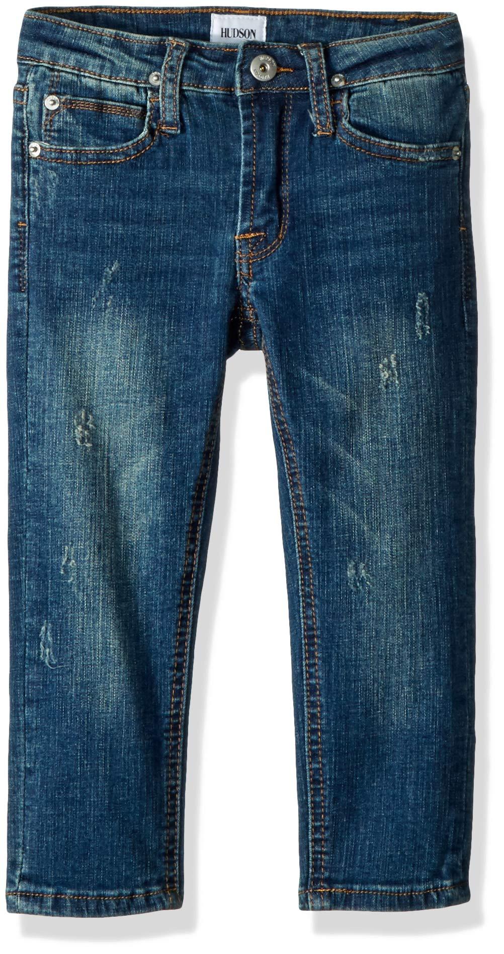 HUDSON Boys' Big Jagger Slim Straight Jean, Seven/Two Blue, 8