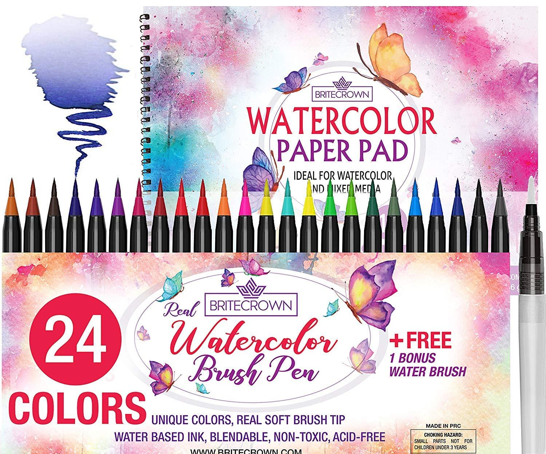 Watercolor Brush Pens Kit of 24 Colors + 1 Water Brush Blending Pen + 15 Sheet Watercolor Paper Pad Sketch Book