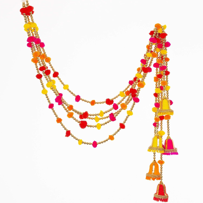 R and D Handicrafts 5-String Rainbow Pom Pom Garlands - Living Room Decorations, Party Decor, Handmade - Indian Wedding, Diwali Festivities, Marigold Garland, Bohemian Interiors - 4 FT Per String