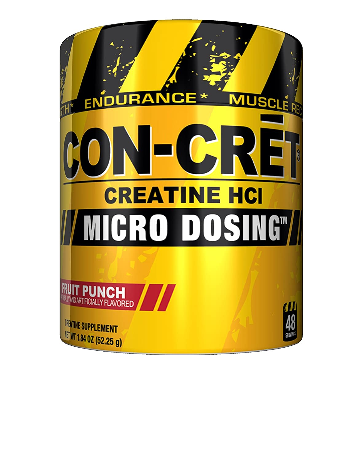 CON-CRET Creatine HCI Micro-Dosing Pre Workout Powder for Muscle Building, Endurance, and Recovery, 48 Servings, Fruit Punch
