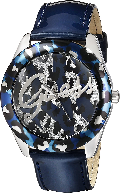 Guess Mujer u0455l1Iconic Blue Patente Reloj de Pulsera with Animal Print Dial