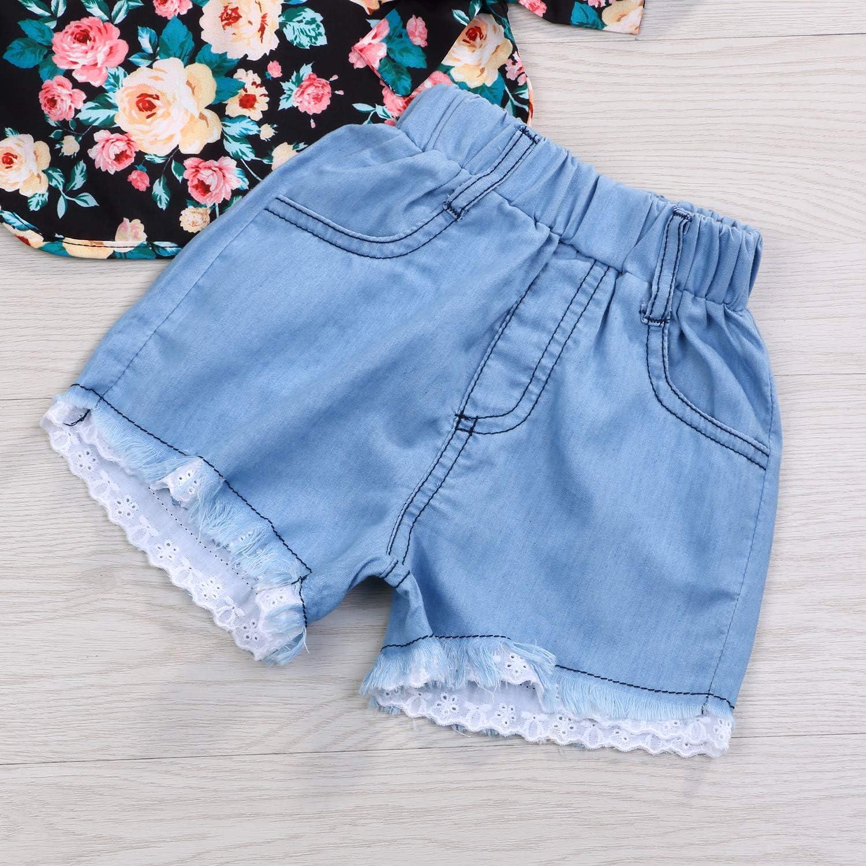 Denim Shorts Outfit Set Toddler Kids Baby Girl Floral Sleeveless T-Shirt Top