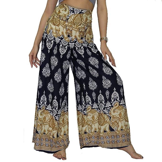 ee6412ea7a Lofbaz Women's Wide Leg Palazzo Pants Yoga Lounge Hippie Harem Flowy Trousers  Ladies Petite Summer Hippy