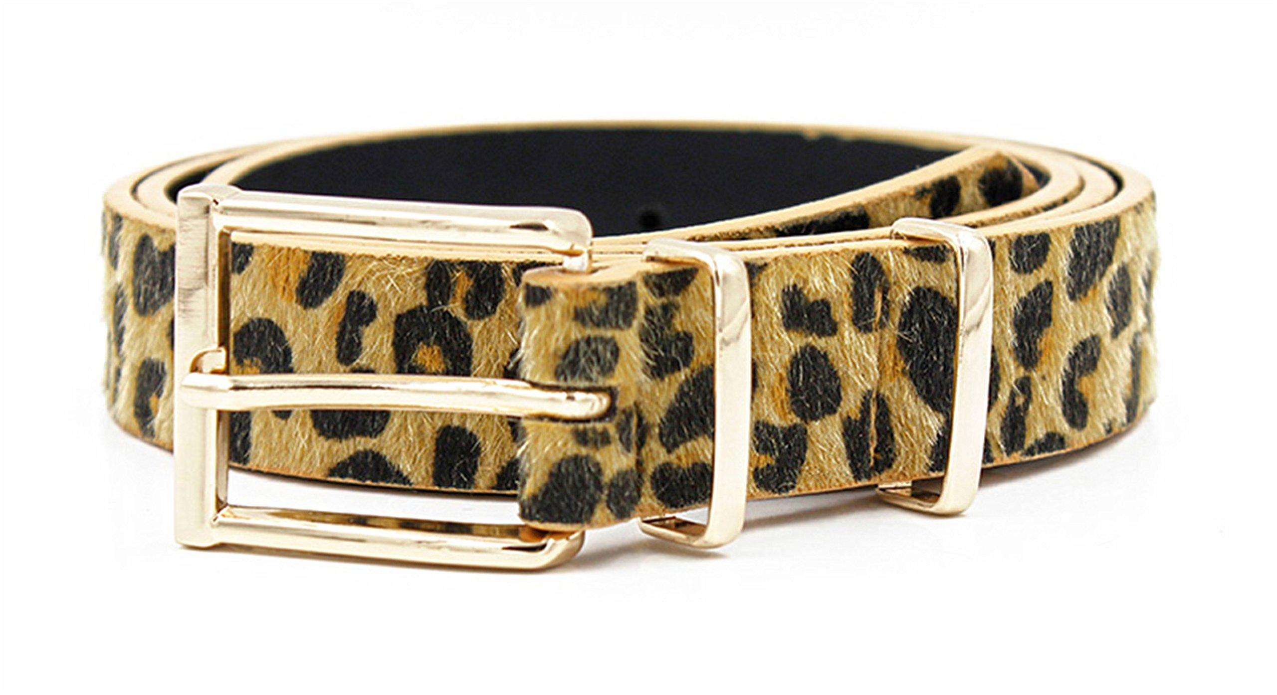 Reinhar Female Belt Cummerbund Women Horsehair Belt With Leopard Pattern Rose Gold Metal Buckle Women Pu Belt 125 CM Yellow Black 95cm