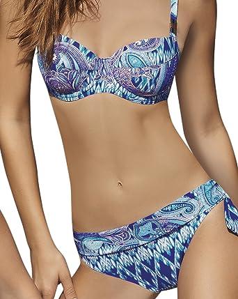 63d7c5d80a73 OPERA Bikini Ocean Paisley, Conjuntos Mujer, Azul (Blau), 40: Amazon ...
