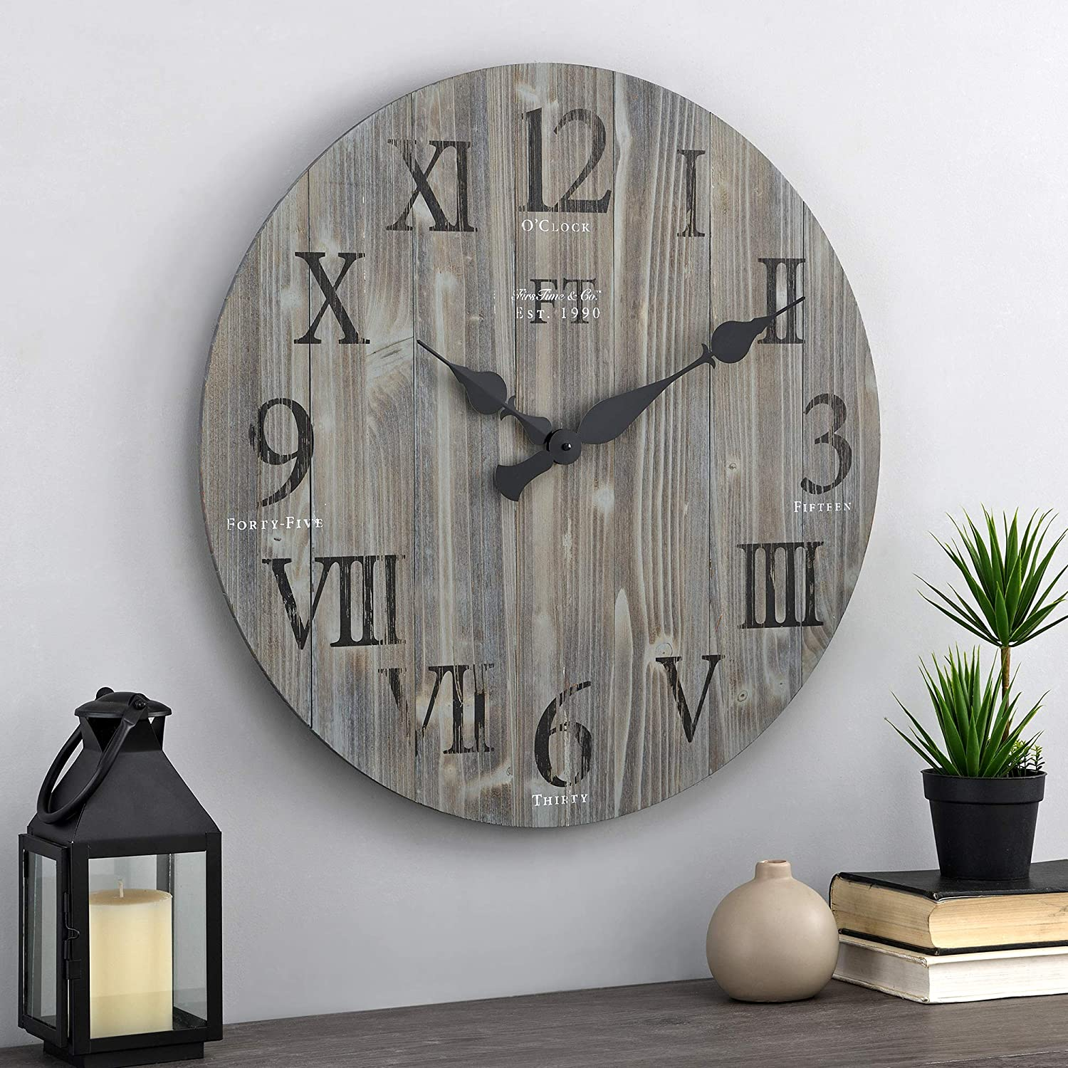 FirsTime & Co. White Rustic Farmhouse Barn Wood Clock, Gray, 24 inches (31215)