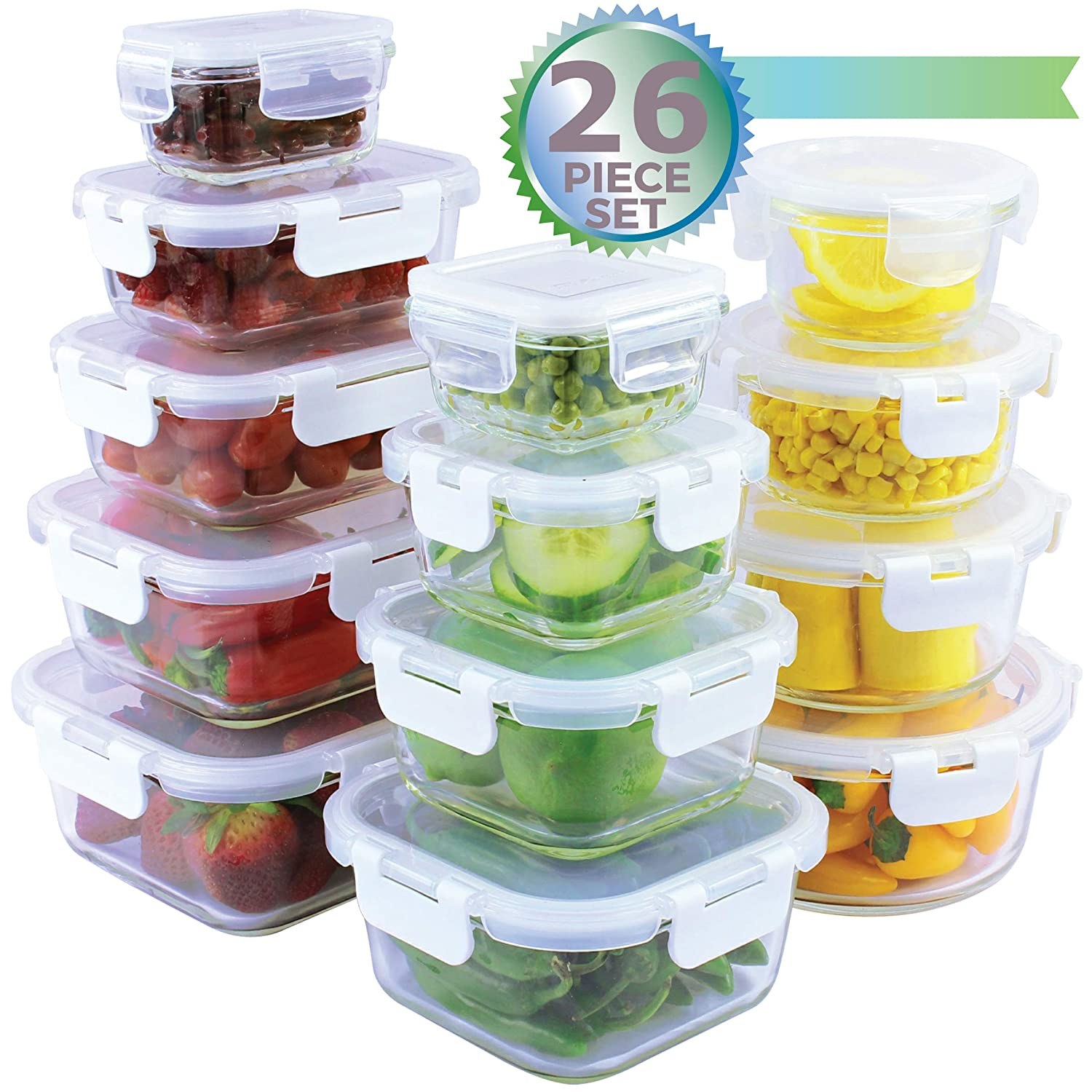 [26-Piece Set] Glass Storage Containers with Lids - Glass Food Storage Containers Airtight - Glass Containers With Lids - Glass Meal Prep Containers Glass Food Containers - Glass Lunch Containers
