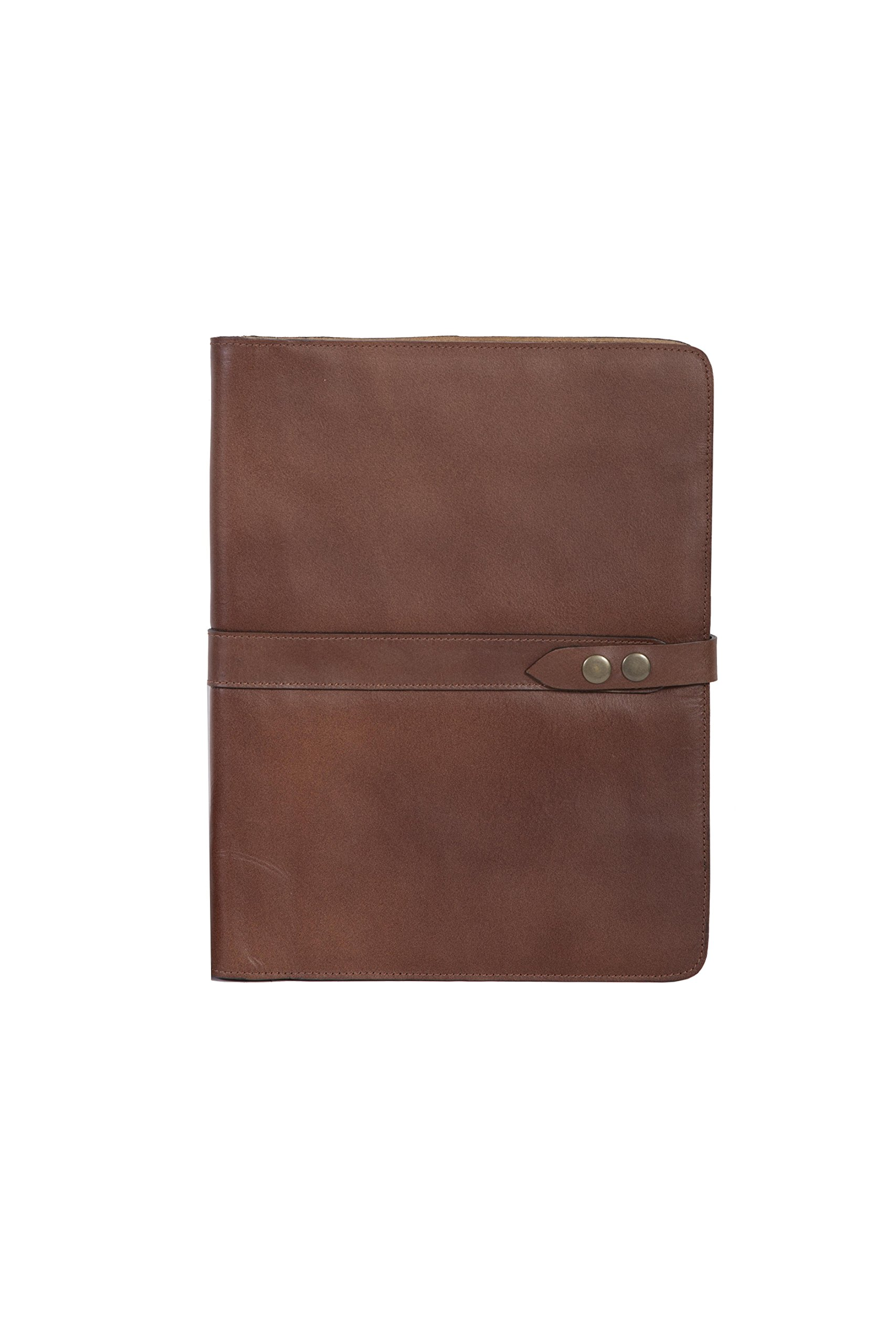 Snap Closure Leather Pad in Mahogany