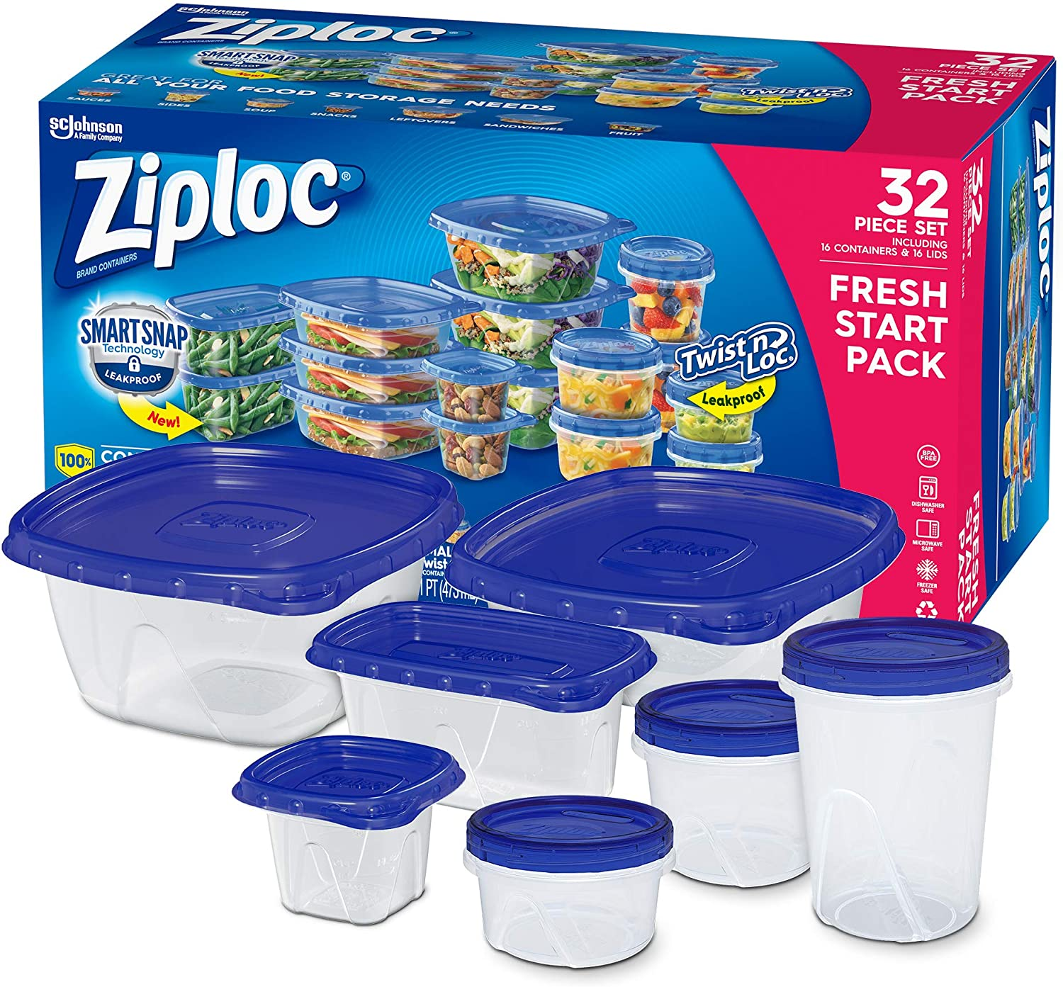 Ziploc Food Storage Meal Prep Containers with Smart Snap Technology, Dishwasher Safe, Variety Pack, 16 Count