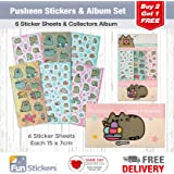 Pusheen Stickers, 6 Sheets, Each sheet 14 x 7cm with Sticker Album