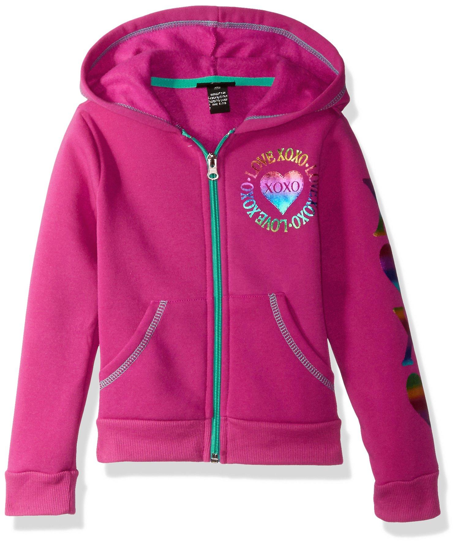 XOXO Little Girls' Fleece Logo Hoodie, Tibet Berry Heart, 5/6