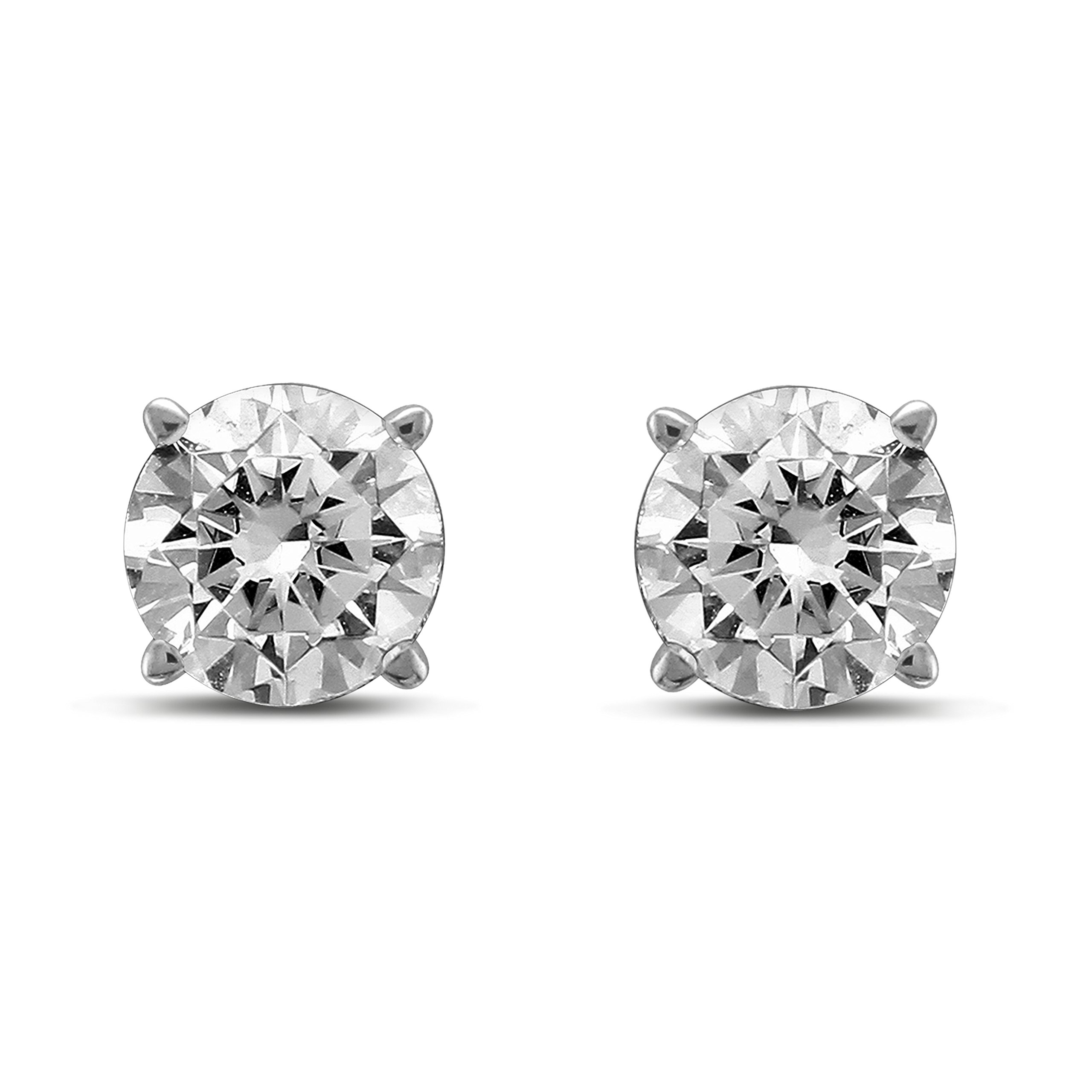 Diamond Jewel 14K Gold Round Diamond Stud Earrings (1)