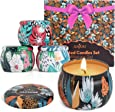 Scented Candles Gift Set, 4 Cans Made of 100% Natural Soy Wax with Essential Oils for Stress Relief, 4 Fragrances Use for Aromatherapy, Bath, Yoga, Perfect for Christmas, Birthday, Mother's Day