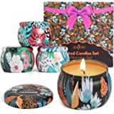 Scented Candles Gift Set, 4 Cans Made of 100% Natural Soy Wax with Essential Oils for Stress Relief, 4 Fragrances Use for Aro