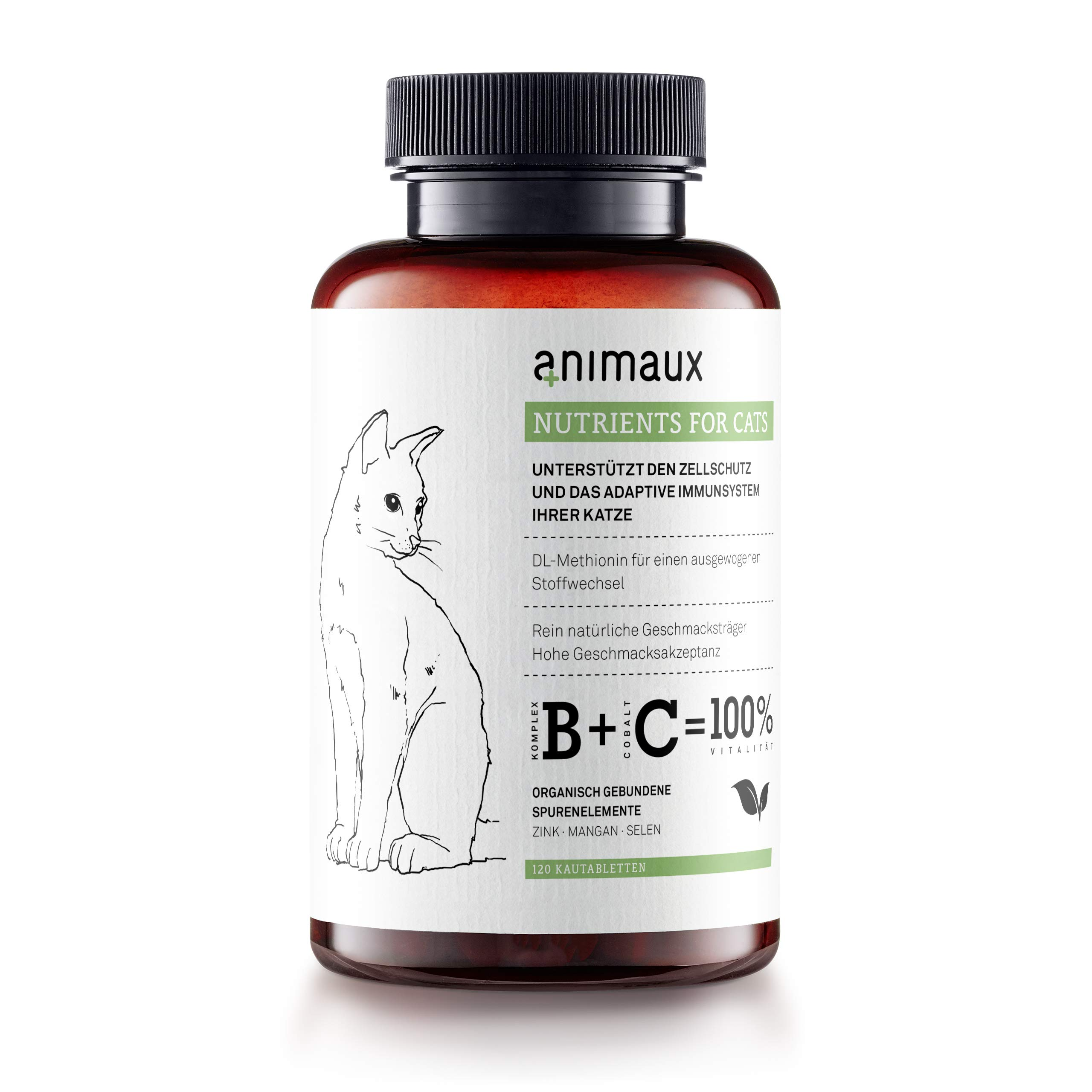 animaux - nutrients for Cats | All-Natural Cat Vitamins to Strengthen The Immune System | Supports Cell Protection in a Natural Way | Healthy Skin and Shiny Coat | 120 Chewable Tablets by animaux