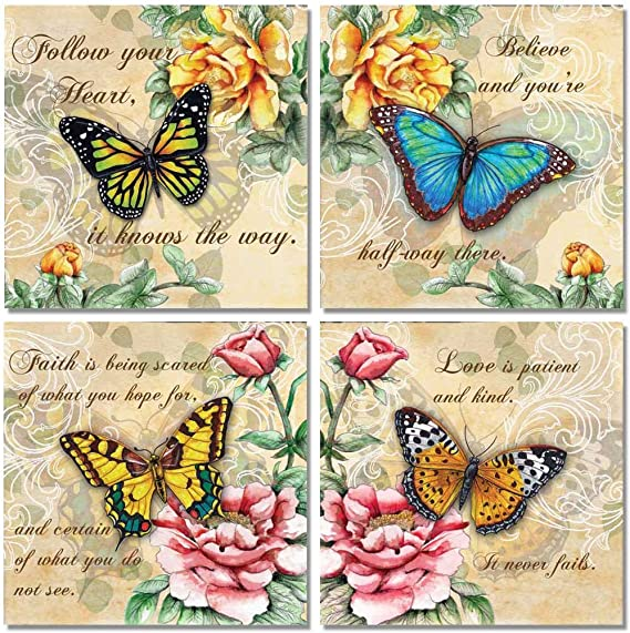 Poster no Framed Butterfly God Says You Are Unique Canvas With Framed