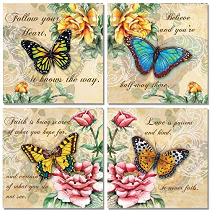 Amazon 4 Beautiful Butterflies And Flowers Inspirational Quotes