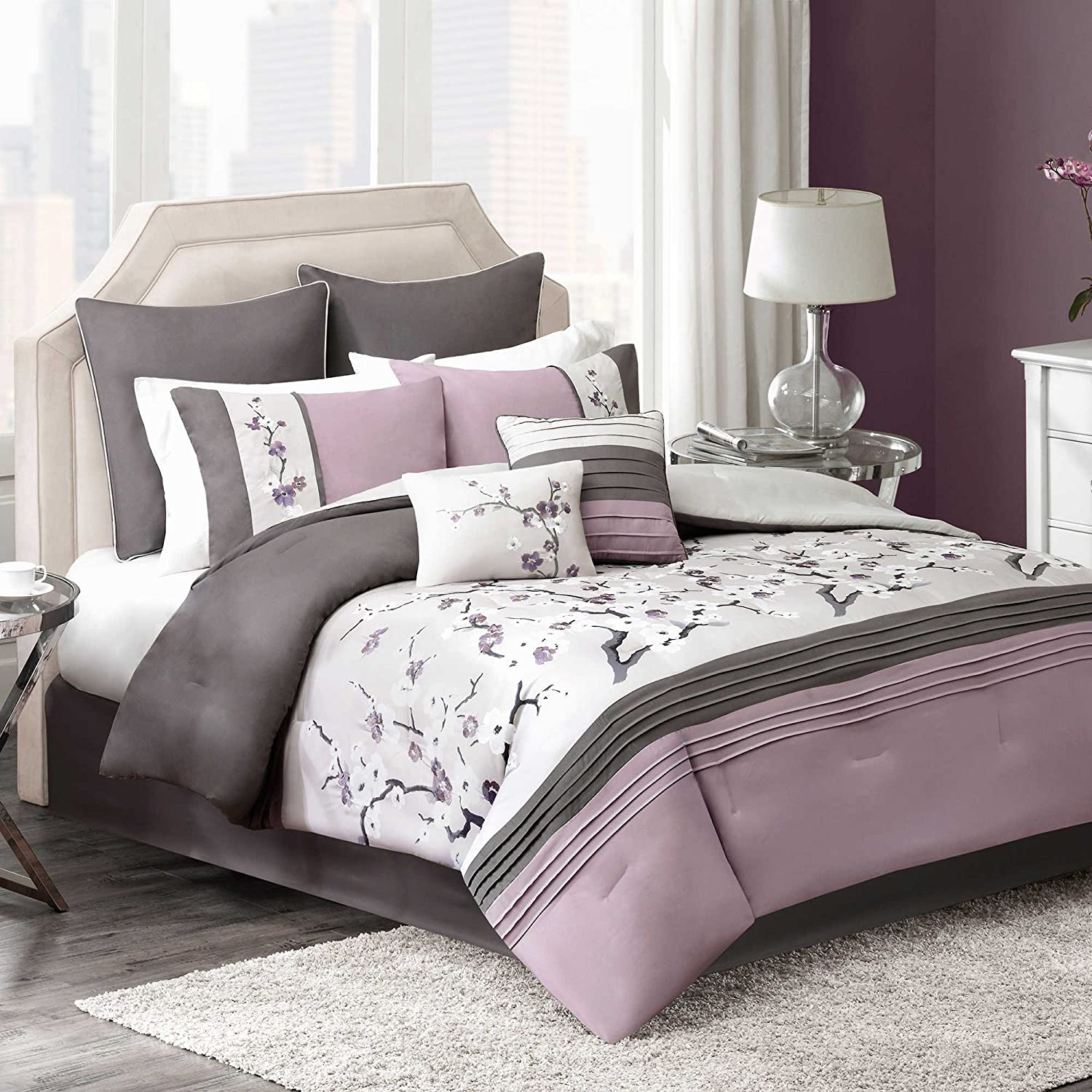 Modern Elegant Plum Bedding Floral Embroidered Comforter Set For Teen Girls