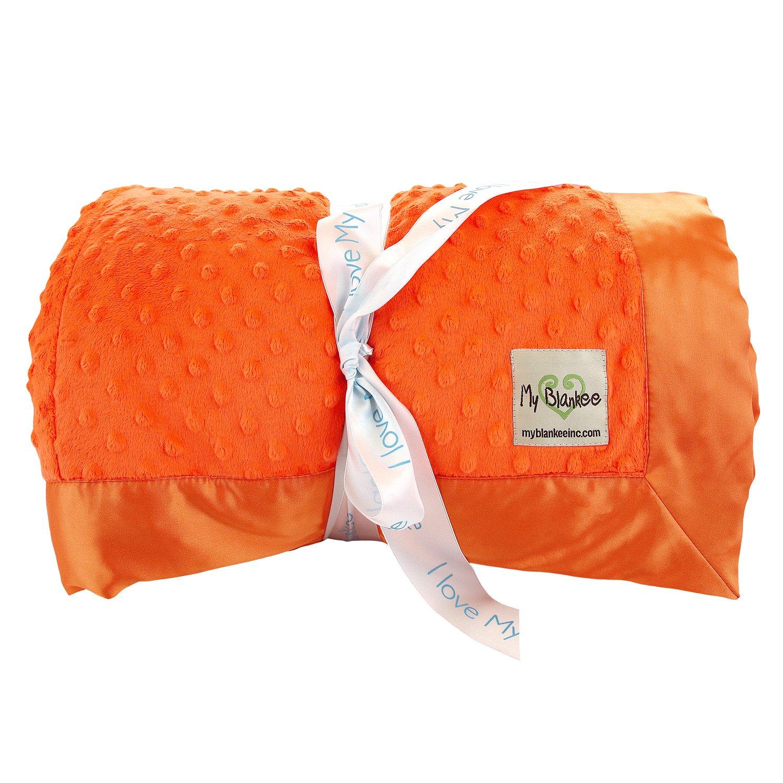 My Blankee Minky Dot King Blanket with Flat Satin Border, Orange, 108'' X 90''