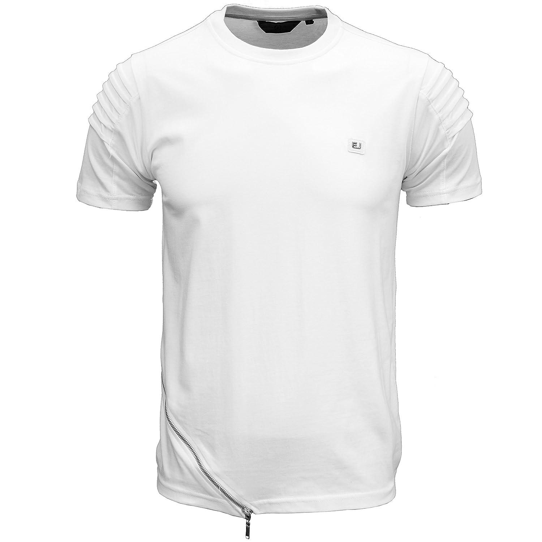 Eto Mens Designer Branded Zip Detail Ribbed Shoulder T-Shirt