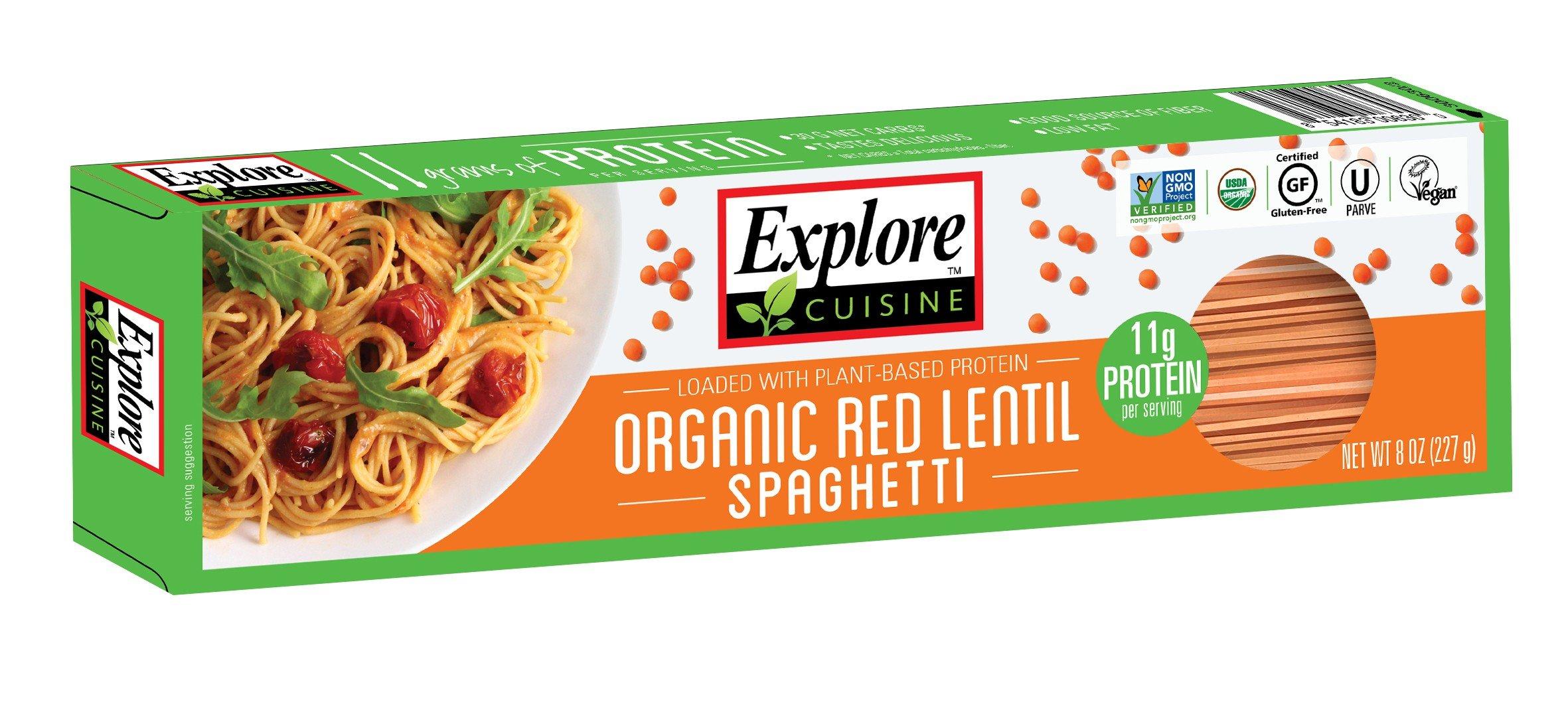 Explore Cuisine Organic Red Lentil Spaghetti, Gluten Free, Vegan, non-GMO, 8 oz (Pack of 12)