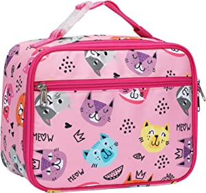 Lunch Box, Bagseri Kids Insulated Lunch Box for Girls, Portable Reusable Toddler Lunch Cooler Bag Thermal Organizer, Water-resistant Lining, (Pink, Cat)