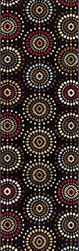 Blossom Valley Black Multi Floral Nature Modern Casual Rug 2×7 2 3 x 7 3 Runner Easy to Clean Stain Fade Resistant Shed Free Abstract Retro Geometric Pattern Soft Living Dining Room Rug