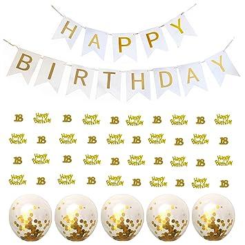 Elecrainbow 18th Birthday Decorations Set Happy Banner Gold Metallic Foil