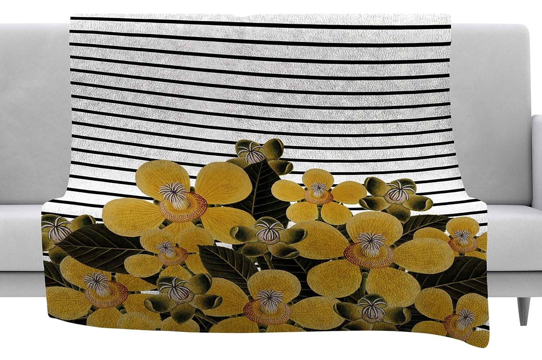 Kess InHouse Tobe Fonseca Spring Pattern Lines Yellow Black Mixed Media Throw 40 x 30 Fleece Blanket