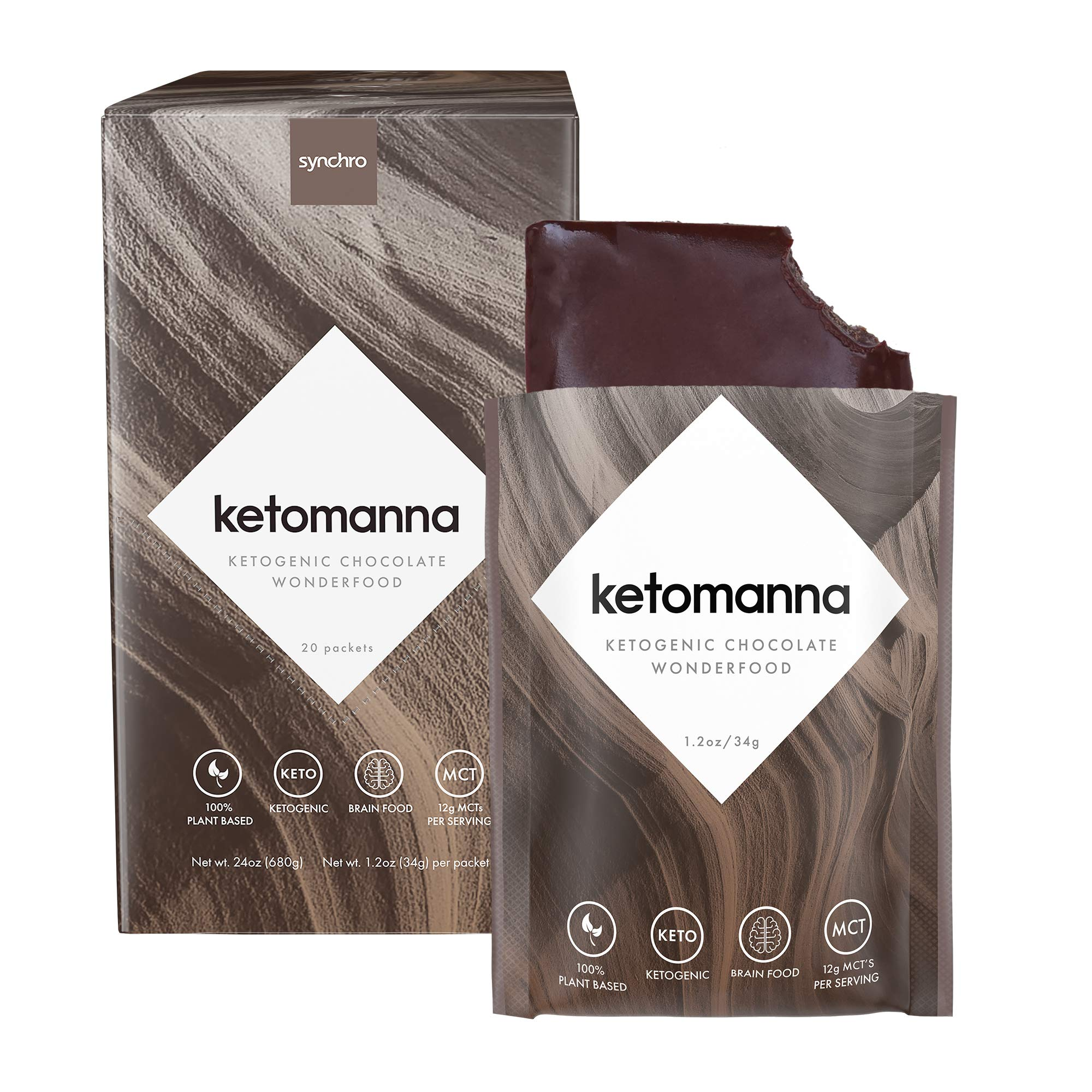 Synchro Ketomanna - Ketogenic Chocolate 12g MCTs - Low Carb + Keto Dessert Snack Perfected (Box of 20 Packets) by Synchro