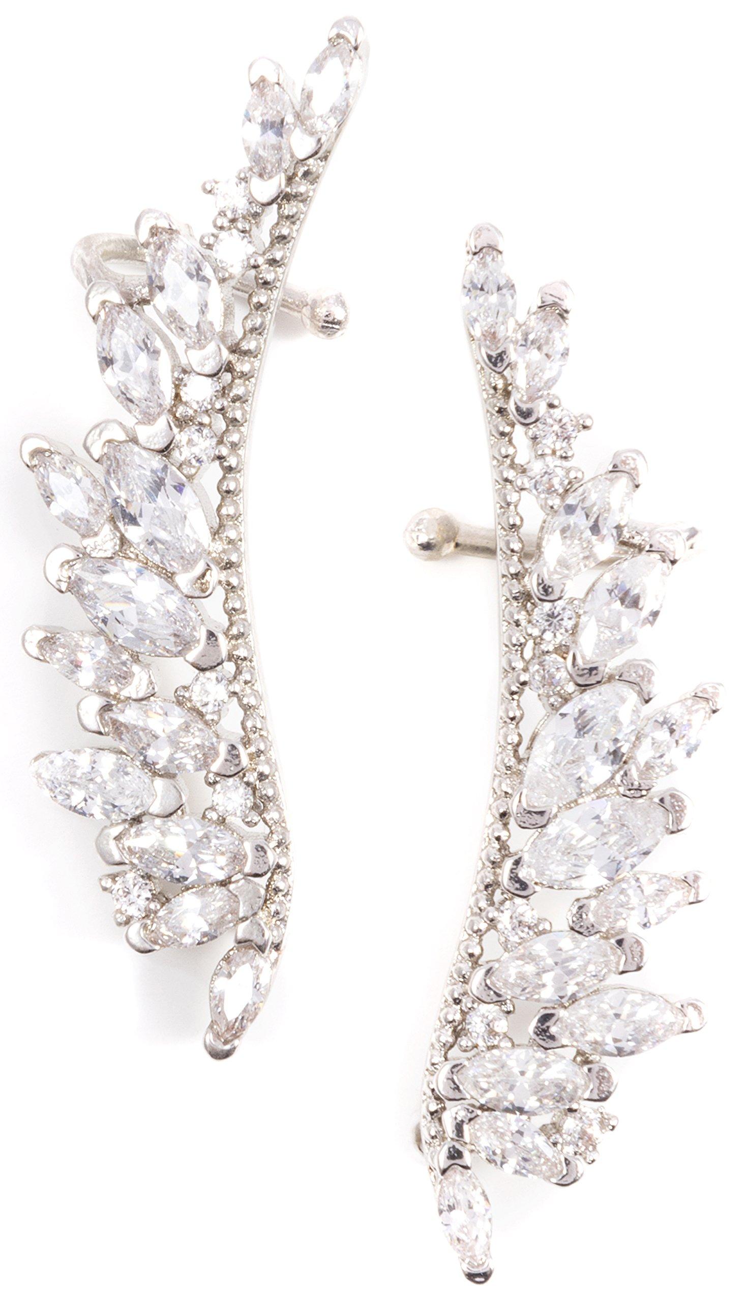 Angel Wing Ear Crawler Earrings in Silver Color | Statement Ear Cuffs Earrings with Zircon Stones