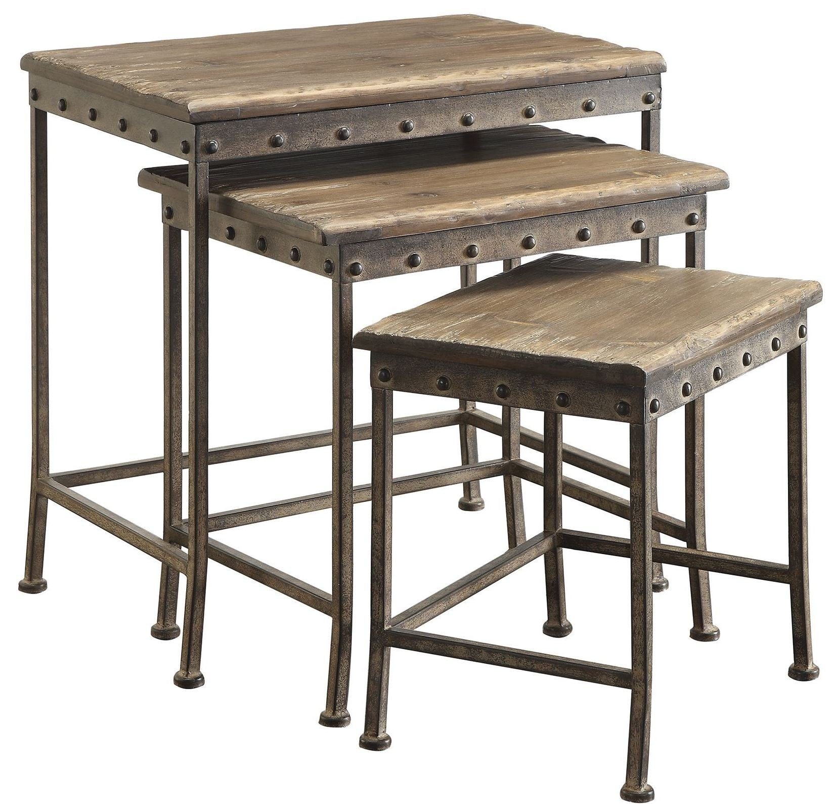 Coaster Home Furnishings 901373 Coaster Industrial Rustic Brown 3-Piece Nesting Table Set by Coaster Home Furnishings