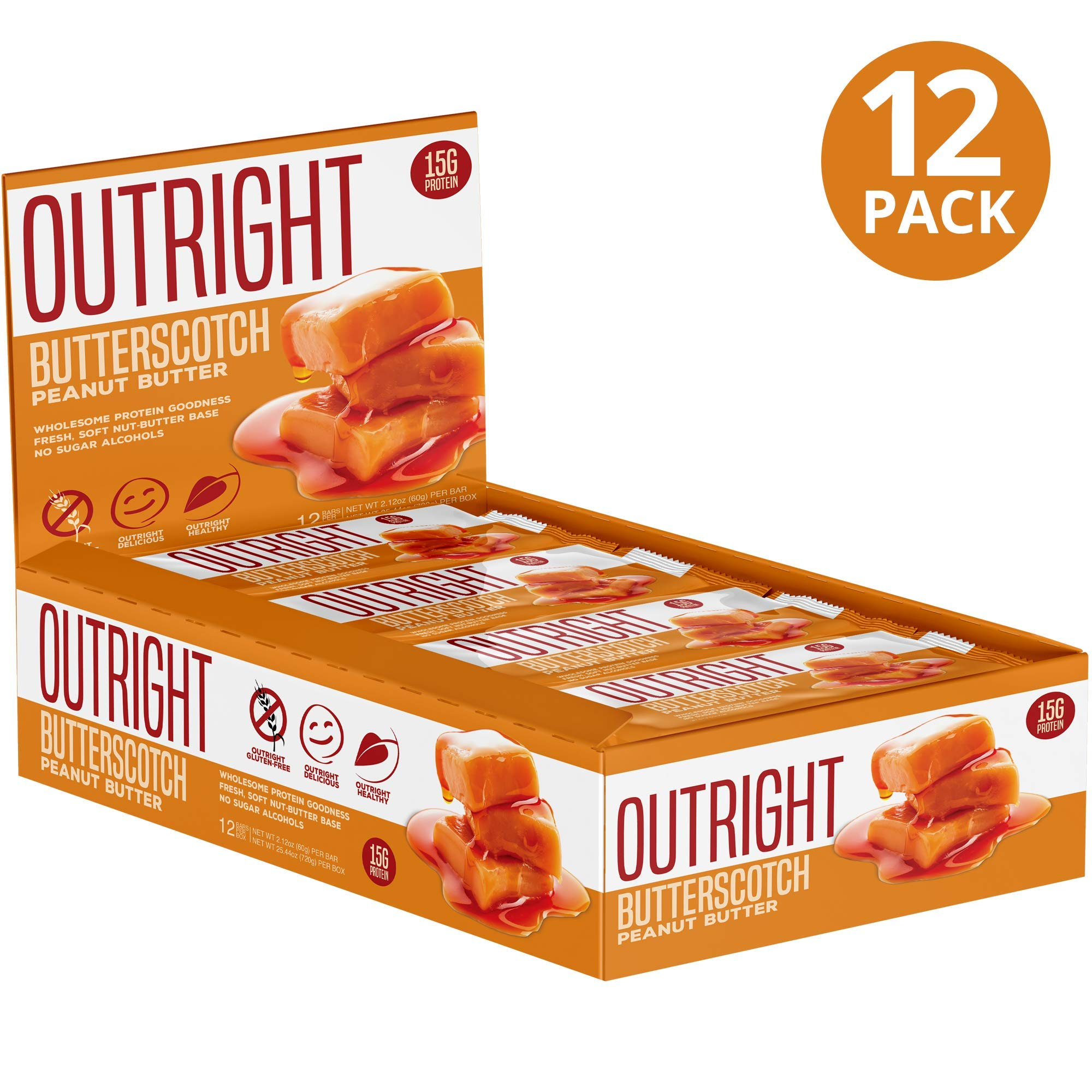 Outright Bar - Whole Food Protein Bar - 12 Pack - MTS Nutrition - Peanut Butter Butterscotch by MTS Nutrition