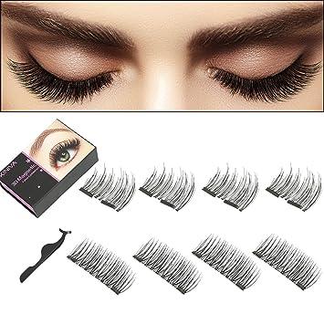 ba336698a00 Amazon.com: Magnetic Eyelashes, KINIVA Reusable Dual Magnet False Eyelash, 2  Pairs 8 Pieces One Two Lash Handmade 3D Fake Magnetic Eyelashes: Beauty