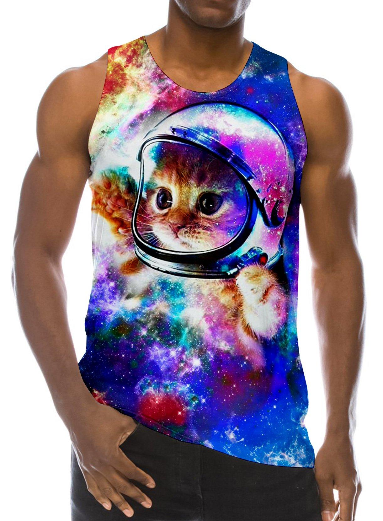 d1b80d7cb6d9e0 RAISEVERN 3D Astronaut Cat Print Funny Pattern Realistic Underwaist Gym  Tank Tops for Men