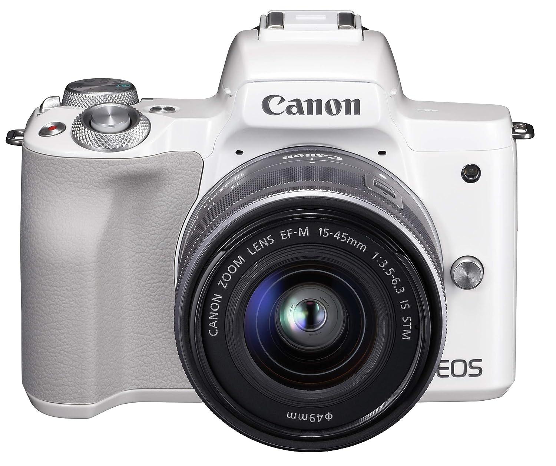 Canon ミラーレス一眼カメラ EOS Kiss M ホワイト レンズキット EF-M15-45 IS STM付属 EOSKISSMWH-1545ISSTMLK   B079ZT46LX