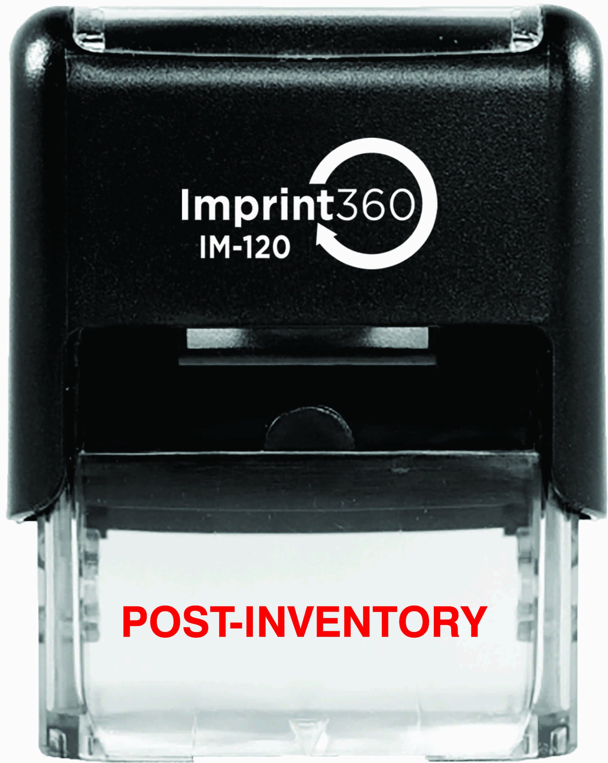 Supply360 AS-IMP1065 - Post-Inventory, Heavy Duty Commerical Quality Self-Inking Rubber Stamp, Red Ink, 9/16'' x 1-1/2'' Impression Size, Laser Engraved for Clean, Precise Imprints