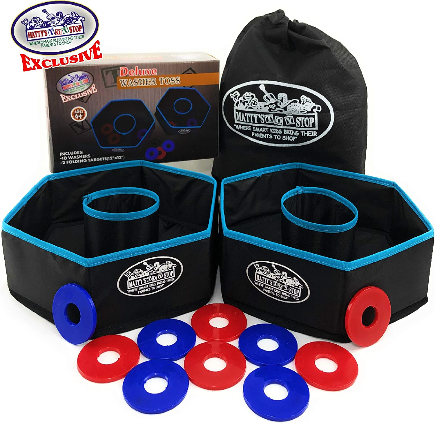 Matty's Toy Stop Deluxe Collapsible Washer Toss Game with 10 Washer Discs & Storage Bag