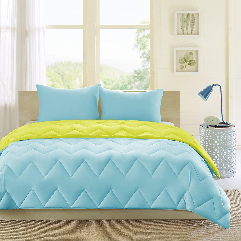 Intelligent Design Trixie All Season Reversible Down Alternative Comforter Mini Set, Full/Queen, Blue/Green