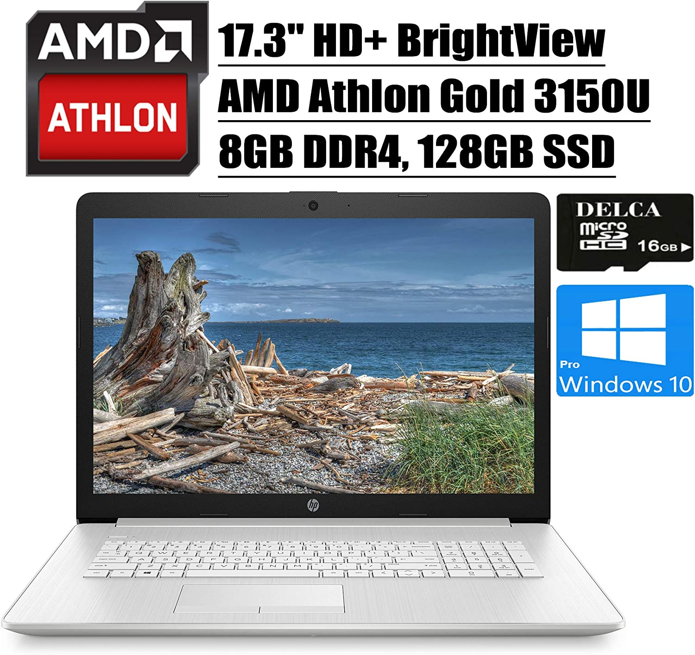 "HP 17 2020 Premium Laptop Computer I 17.3""HD+ BrightViewDisplay I AMD Athlon Gold 3150U I 8GB DDR4 128GB SSD I AMD Radeon Graphics WiFi DVD HDMI Webcam Win 10 Pro + Delca 16GB Micro SD Card"