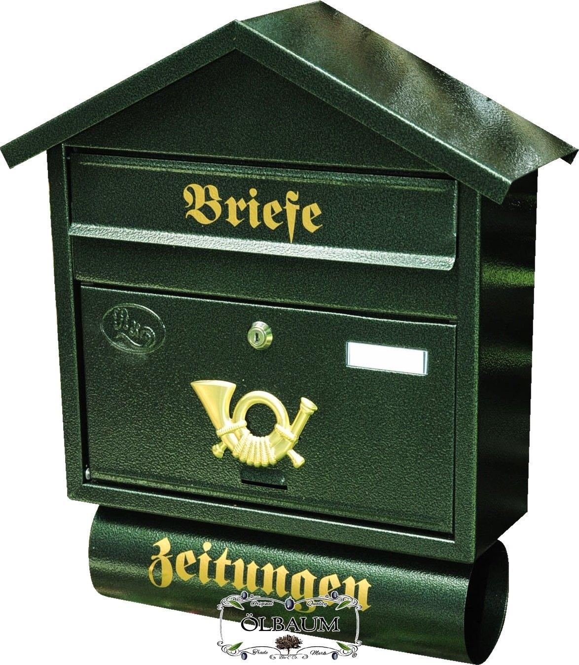 verzinkt mit Rostschutz Spitzdach S gr/ün dunkelgr/ün moosgr/ün Zeitungsfach Zeitungsrolle Postkasten BTV Gro/ßer Massivstahl-Briefkasten XXL