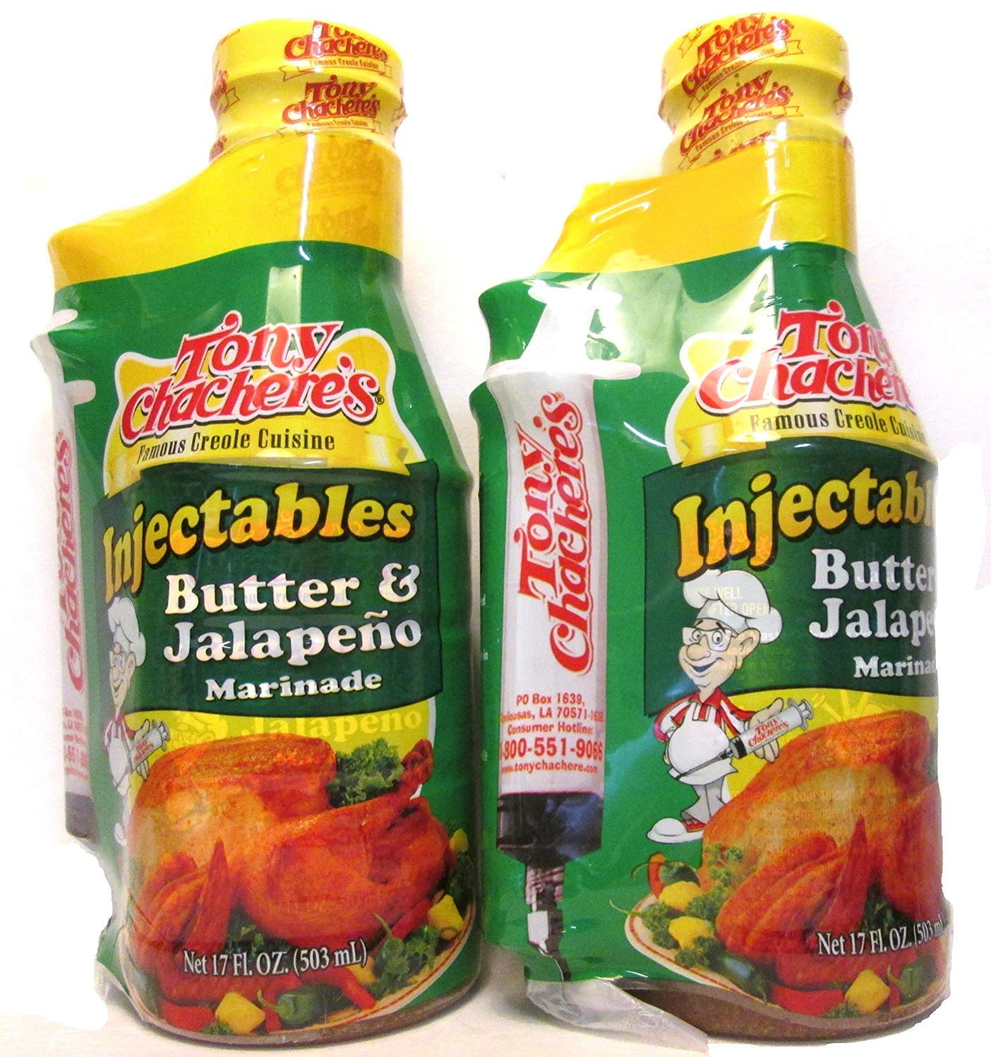 Tony Chachere's Marinade and Injector Butter and Jalapeno (2 Pack)