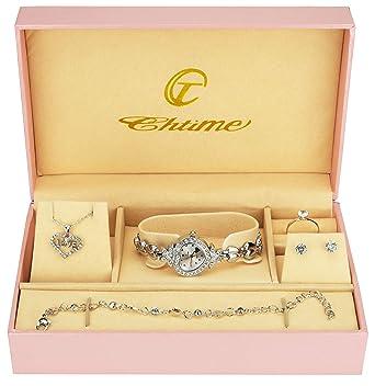 Caja de Regalo Reloj Mujer Plata- Juegos de Joyas- Collar-Anillo- Pendientes: Amazon.es: Relojes